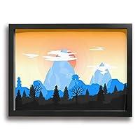 ホワイトサン フォトフレーム フレーム イラスト 山 風景 壁掛け インテリア 装飾 枠付き ポスター アートフレーム パネル 30*40