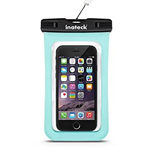 Inateck スマートフォン用防水ケース ストラップ付 防水保護等級 : IPx7 お風呂でも - 水色