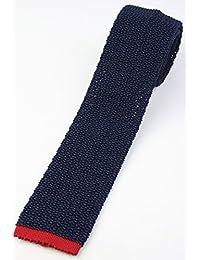 (フェアファクス) FAIRFAX 剣先切替のニットタイ ネイビー系 シルク100% 無地 ネクタイ ドイツ製 kt19655