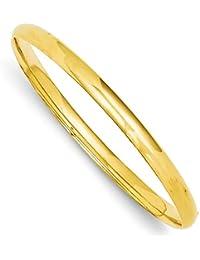 diamond2deal 14 Kイエローゴールド3 16高ヒンジバングルブレスレット7.5インチ