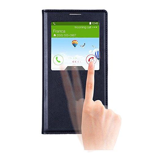 Note 3 ケース, Galaxy Note 3 ケース, Huijukon Elegant S-view Smart Flip Leather ケース カバー with Auto Sleep/Awake Function for Samsung Galaxy Note 3 III (Black)