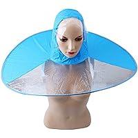PP&DD 折りたたみ式UFO傘キャップ – 防水雨ハンズフリー傘帽子 傘レインハット帽子キャップレインコートアウトドア釣りゴルフ子供大人学生雨コートカバーの傘 大人サイズあり 親子レインコート (ブルー, L)