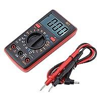 デジタルマルチメータテスター DC/AC電圧電流抵抗 0℃-50℃ 大画面バックライト&LCDディスプレイ 高精度(red)