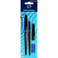 Schneider シュナイダー カリグラフィー用 万年筆セット 2本入り ペン先サイズ:1.1mm&1.5mm インクカートリッジ2本付き インクカラー:ブルー/青 CYFP76930 カートリッジ・コンバーター両用