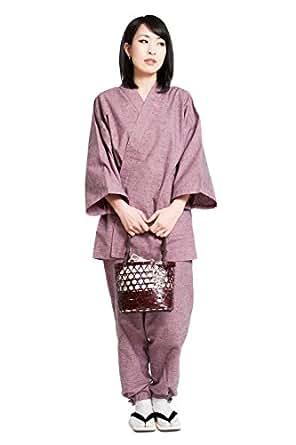 作務衣 さむえ レディース 日本製 通年 おしゃれ 洗える 久留米 綿 六花/ROCCA (M, ピンク)