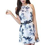 (Megumi) 韓国 ファッション 花がら ワンピース フラワー ベルトセット 涼しげ ノースリーブ ワンピ Mサイズ相当 ブルー