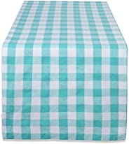 DII 100% Cotton, Machine Washable, Dinner, Everyday Use Table Runner, 14x72, Aqua & White C