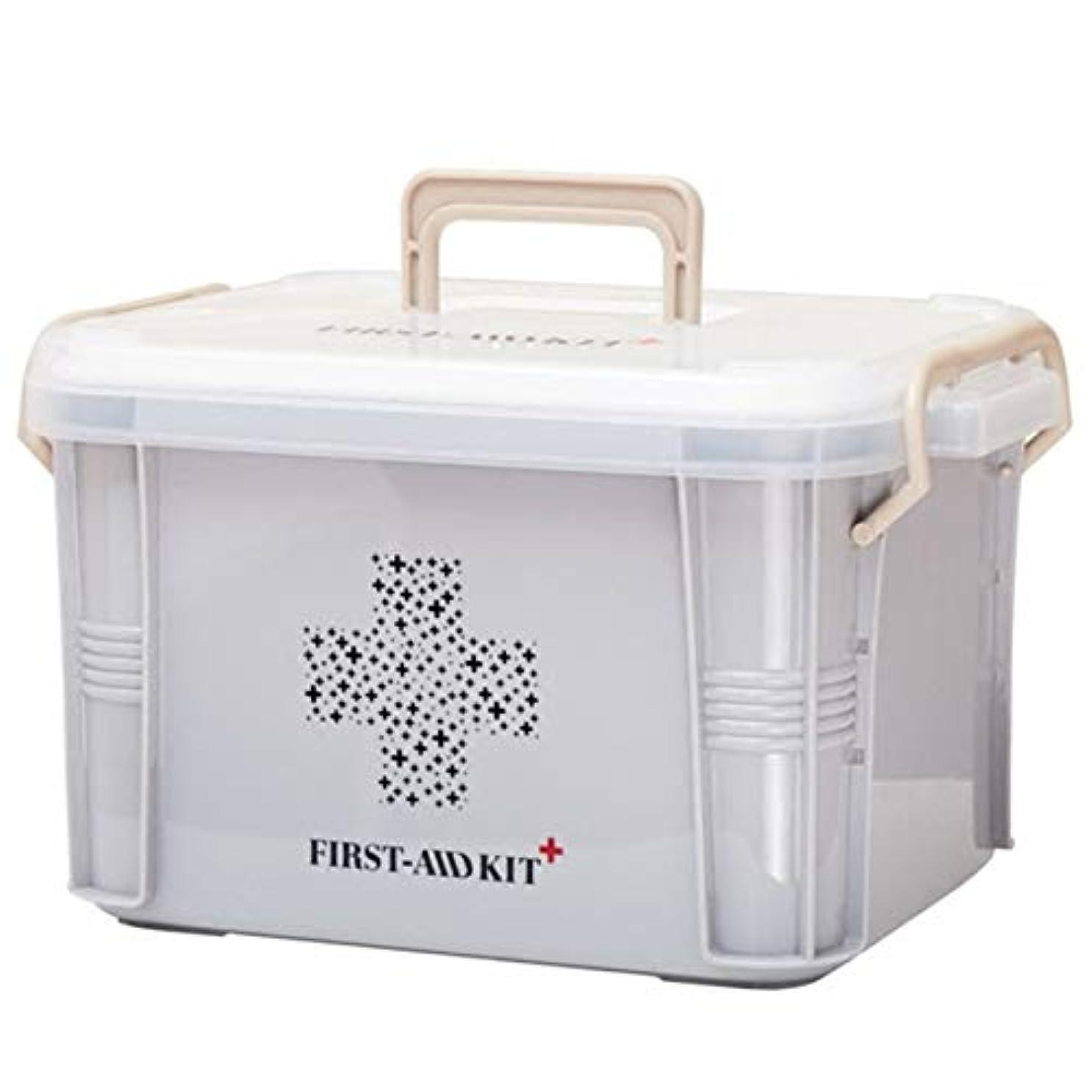 戻る忍耐ネイティブSaikogoods コンパクトサイズのホーム用薬箱ファーストエイドキットボックスプラスチック容器救急キット大容量ストレージオーガナイザー グレー L