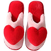 Ruzucoda Plush Love Heart Shape Women Slippers Slip-On Anti-Skid Comfy Fuzzy Knitted House Slippers