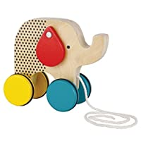 Petit Collage Jumping Jumbo Elephant Wood Pull Toy 【You&Me】 [並行輸入品]