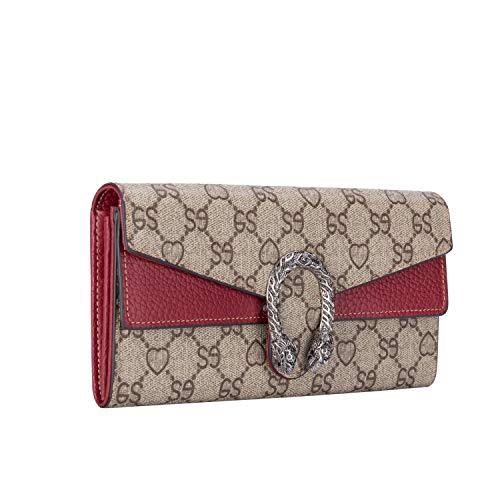 f375193a34a9 Leihou 財布 レディース 長財布 花柄型押し グッチ風 大容量 カード入れ 小銭
