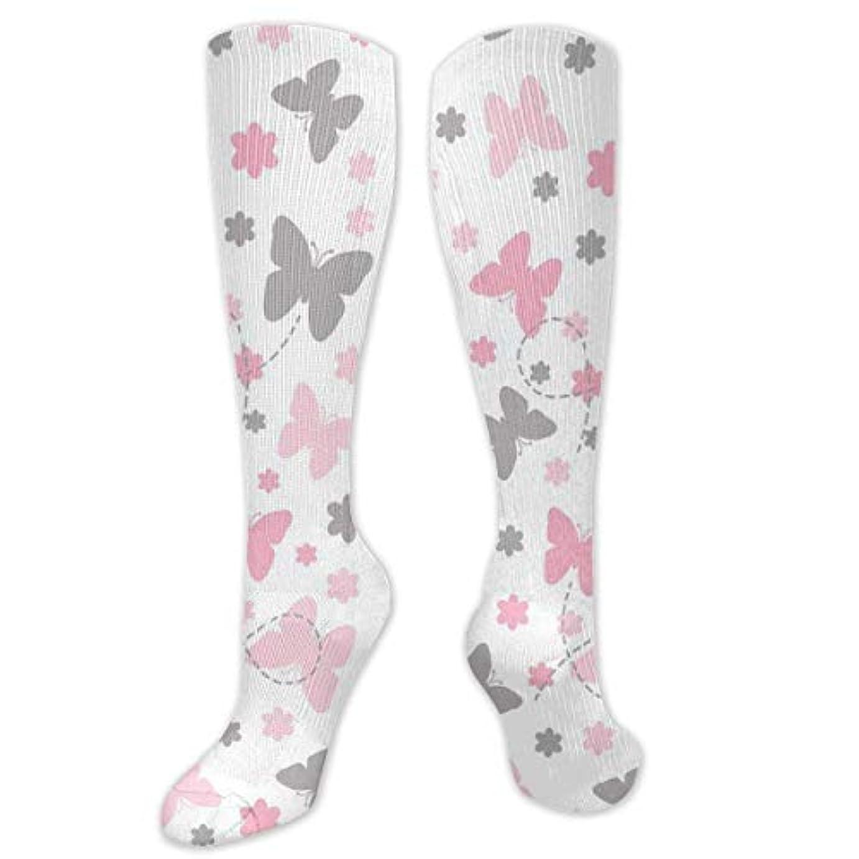 病弱まだ漫画靴下,ストッキング,野生のジョーカー,実際,秋の本質,冬必須,サマーウェア&RBXAA Pink Grey Butterfly Socks Women's Winter Cotton Long Tube Socks Knee...
