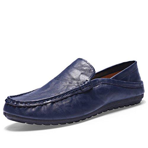 [QIFENGDIANZI]ドライビングシューズ メンズ おしゃれ スリッポン 紳士靴 かかとが踏める 快適 ソフト コンフォート ネイビー 25.5cm