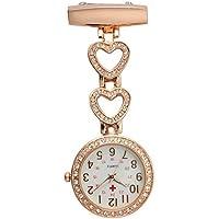 SODIAL Ladies Heart Steel Crystal Nurse Doctor Paramedic Tunic Brooch Quartz FOB Pocket Watch Rose gold