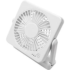 トップランド 11cm コンパクト デスクファン マグネット付き どこでもファン (風量3段階) 3電源対応(AC+USB+別売乾電池) ホワイト SF-DF10 WT