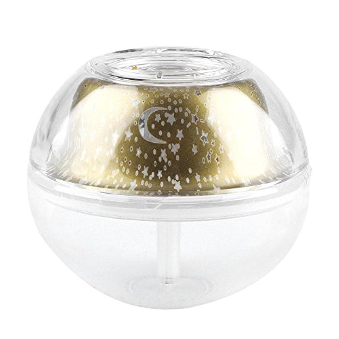 中絶摂動ゴネリルプロジェクションディフューザー、USB充電式スーパーミニ超音波加湿器ディフューザープロジェクションナイトライト(ゴールデン)