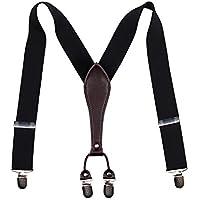 "HISDERN Mens Braces/Suspenders Y-Back 1.38"" Wide Adjustable Solid Straight Clip Suspenders with Gift Box"
