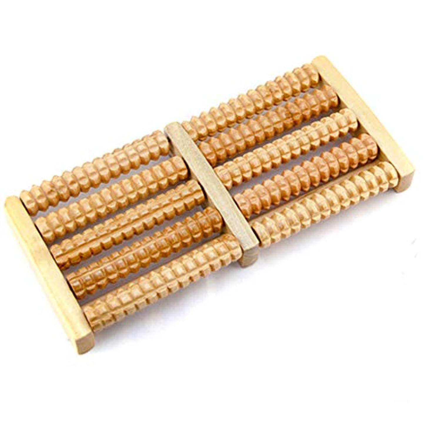 ホイール拘束するいつ5列ホイールローラーウッドマッサージデバイス圧力ローリングフット木製マッサージ器具リフレクソロジー