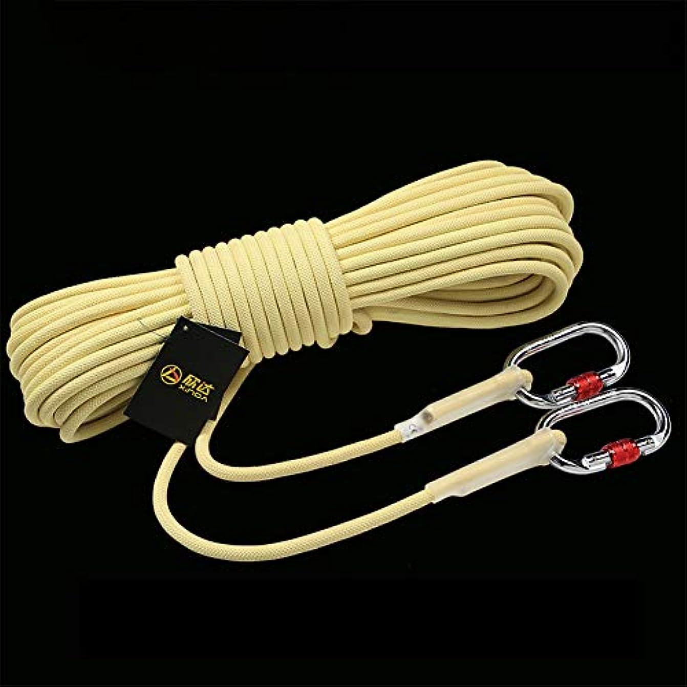 肘掛け椅子ケニアクライストチャーチ10.5ミリメートル屋外静的ロッククライミングロープ、火災エスケープ安全救助急行ロープ高温耐性難燃サバイバルコード,Yellow,15m