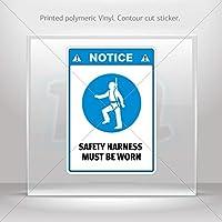 デカールNotice。安全ハーネスmust be wornタブレットラップトップ防水スポーツバイクx85X 2 4 X 2.80 6V185120400