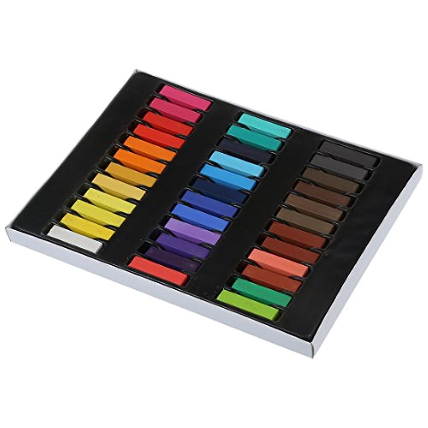 非公式名詞最適Gaoominy 36色の髪のチョーク有色の鉛筆 一時サロンキット パステル、ボックス付き