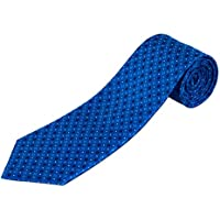 100% Silk Extra Long Blue Tie with Geometric Pattern (70 Long)