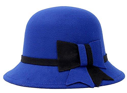 Roffatide 女性用 ウールフェルト帽子 ちょう結びのあるトップハット フェドラ ボウラーハット 秋冬用の帽子 小顔効果 4色 ロイヤルブルー