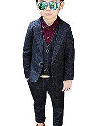 SIJIYIREN 男の子 チェック柄 かっこいい フォーマル スーツ ジャケット ベスト ズボン 3点セット 七五三 卒業式 入学式 結婚式 発表会 90-140cm