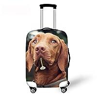 DingDing スーツケースカバー ラゲッジカバー 伸縮素材 防水 キャリーカバー かわいい 犬 柄 S M L サイズ