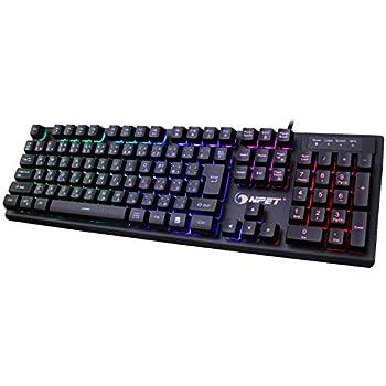 NPET ゲーミングキーボード LED バックライト 7色 防水 usb 26キー防衝突 キーボード 2年間無償品質保証 キーキャッププーラー付き K10 最新版 (日本語配列(106キー))