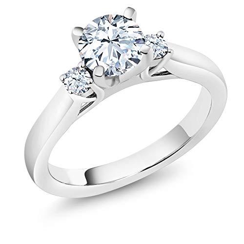 Gem Stone King 1.42カラット 合成ホワイトサファイア (ダイヤのような無色透明) 指輪 リング レディース シルバー925