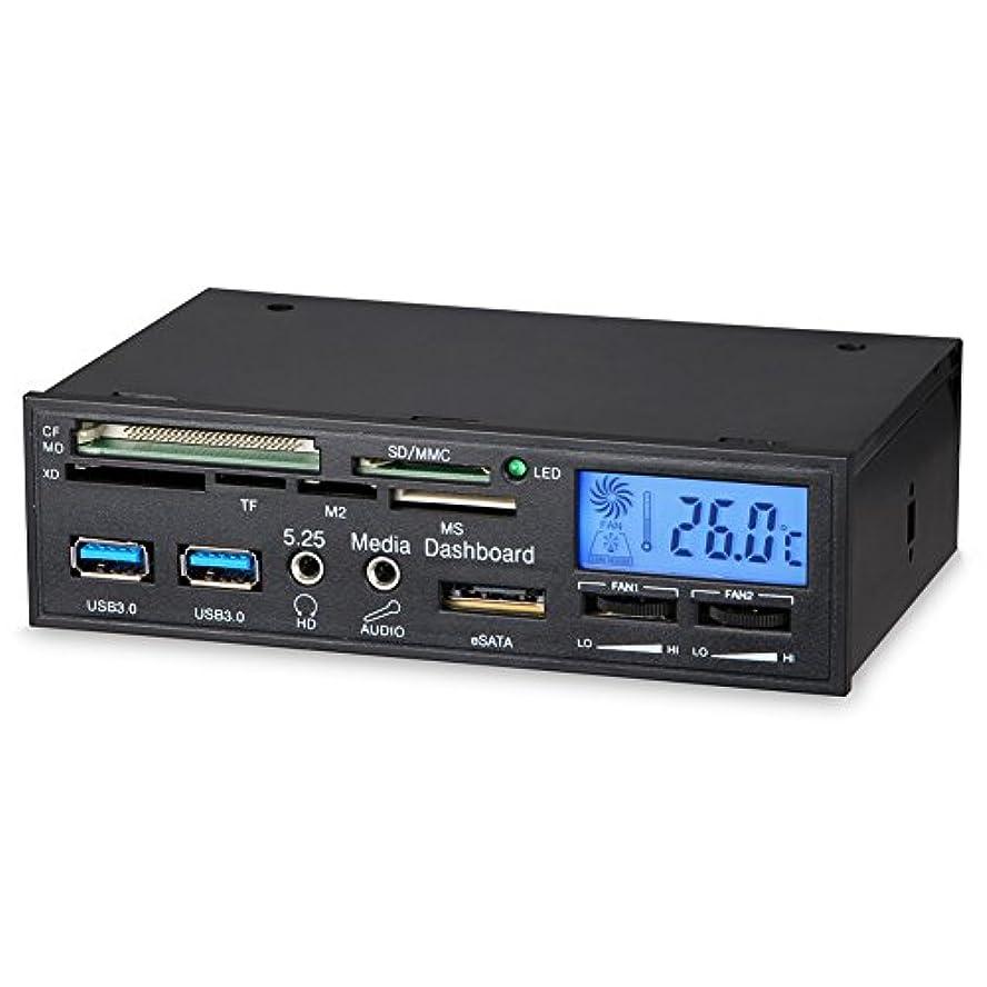 建築家払い戻し喜んでalloetフロントパネルドライブ、HDオーディオコンピュータケースデスクトップフロントパネルUSB 3.0ポート温度LCD表示ABCプラスチックブラック