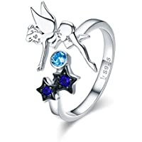 Fairy Angel Open Eternity Rings S925 Sterling Silver for Women Girls Adjustable Elegant Cute Star Blue CZ Crystal Statement Stacking Promise Wedding Ring Finger Band Fashion Jewelry Gifts Best Friend