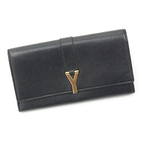 サンローラン Yライン レザー 二つ折り長財布 314995 ブラック 中古