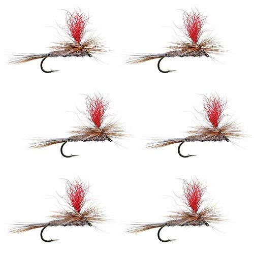 The Fly Fishing Place hi-visibilityパラシュートアダムスクラシックTrout Dry Fly Fishing Flies–セットof 6Fliesサイズ12