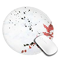 Axiongsd マウスパット 丸いマウスパッド円 おしゃれ マウスパッド ゲーミング ゲーミングマウスパッド 芸術の黒と赤