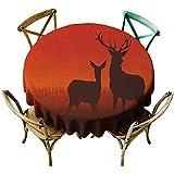 Zmlove ハンティング保護円形テーブルクロス シルエット 草原動物 秋シーズン スカイライン 屋内/屋外 マルチカラー D71