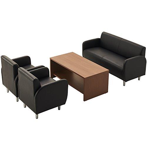 オフィスコム 応接セット ベルセア 4点 4人用 応接セット 2人掛けソファー + 1人掛けソファー ブラック ×2 + 木製応接テーブル ダークブラウン RecSetPS4-21-BK-DB