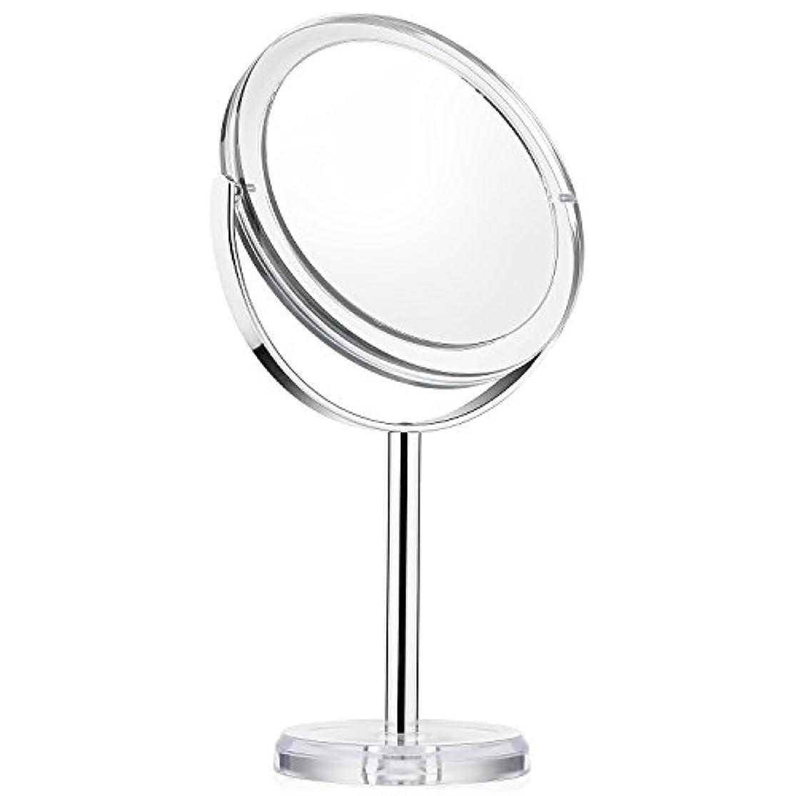 計算時折韓国語化粧ミラー Beautifive 鏡 卓上 化粧鏡 メイクミラー 卓上ミラー スタンドミラー卓上 等倍卓上両面鏡 卓上鏡 7倍拡大スタンドミラー 360°回転可 光学レズン高解像度