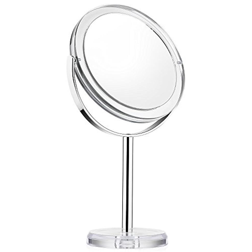 ほぼパッケージ信念化粧ミラー Beautifive 鏡 卓上 化粧鏡 メイクミラー 卓上ミラー スタンドミラー卓上 等倍卓上両面鏡 卓上鏡 7倍拡大スタンドミラー 360°回転可 光学レズン高解像度