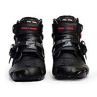 RaiFu レーシングブーツ バイク用ブーツ メンズ ソフト バイカー 防水 スピード モトクロス ノンスリップ すべり止め オートバイ 靴 黒 10
