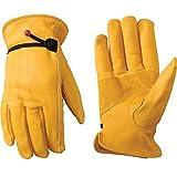 Leather Work Gloves with Adjustable Wrist, Medium (Wells Lamont 1132M),Saddletan