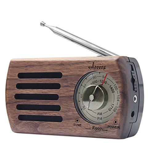 携帯ラジオ ポケットラジオ レトロ 小型 AM FM対応 ワイドFM AOOEOU 高感度 ポータブル簡単操作 ポケットサイズ コンパクト 木製 ラジオ 通勤ラジオ 単三 乾電池式 クルミ材