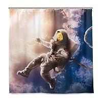 スペース宇宙飛行士シャワーカーテン用浴室NASA地球ポリエステル防水カスタムバスシャワーカーテン12フックセットDecorinches 2040421 165X180 CM
