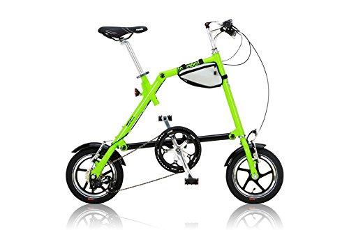 NANOO(ナノー) 折りたたみ自転車 12インチ シマノ7段変速 グリーン [ライト/専用輪行バッグ/フレームバッグ付属] FD-1207
