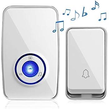 ワイヤレスチャイム 自動発電 電池不要 Vorally ワイヤレスベル 防水防塵 51曲呼び出し音 5段階音量調節 最大200m 音と光で呼び出し AC電源式受信機 ドアチャイム・玄関チャイム・来客チャイム・介護 日本語取扱付属 (送信機1受信機1)