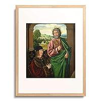 Hey, Jean (Meister von Moulins),1483-1501 「Pierre II, Sire de Beaujeu, Herzog von Bourbon, und der hl.Petrus.」 額装アート作品