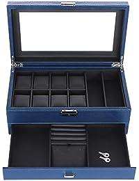 SONGMICS 腕時計収納ケース 腕時計収納ボックス コレクションケース 高級革内装 8本用 メガネ アクセサリー収納 メンズ 2段 ギフト NJWB012L