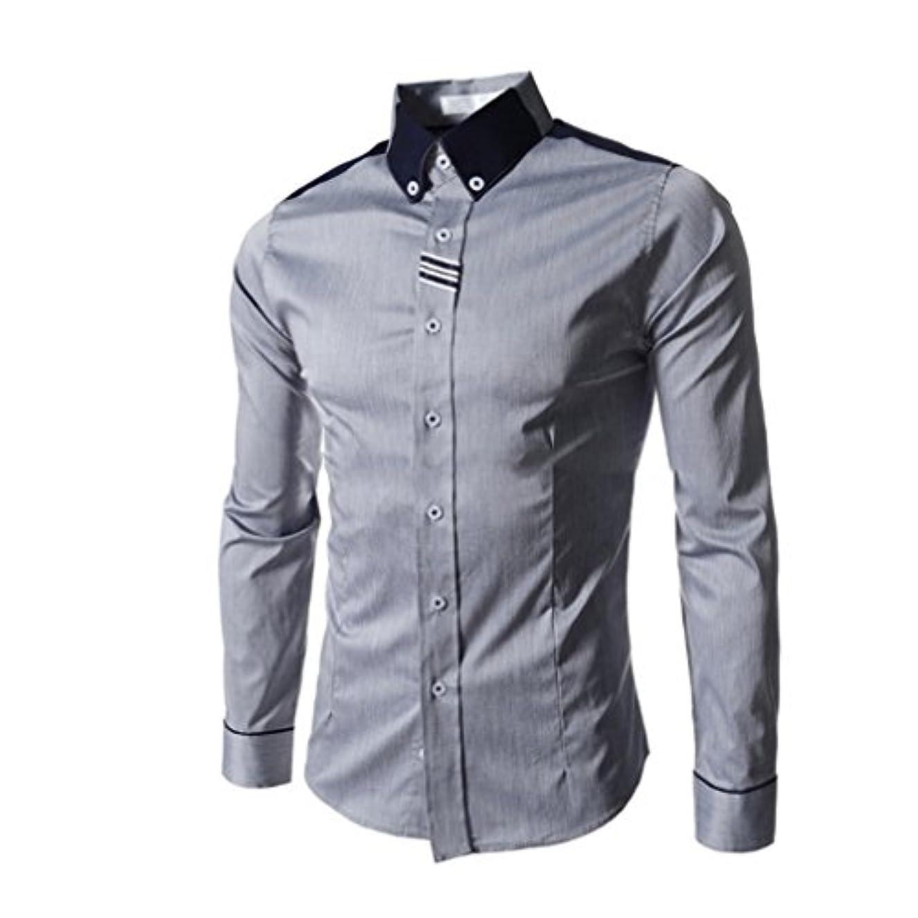 マークされたフォージ名前でHonghu メンズ シャツ 長袖 織テープ  グレー 2XL 1PC