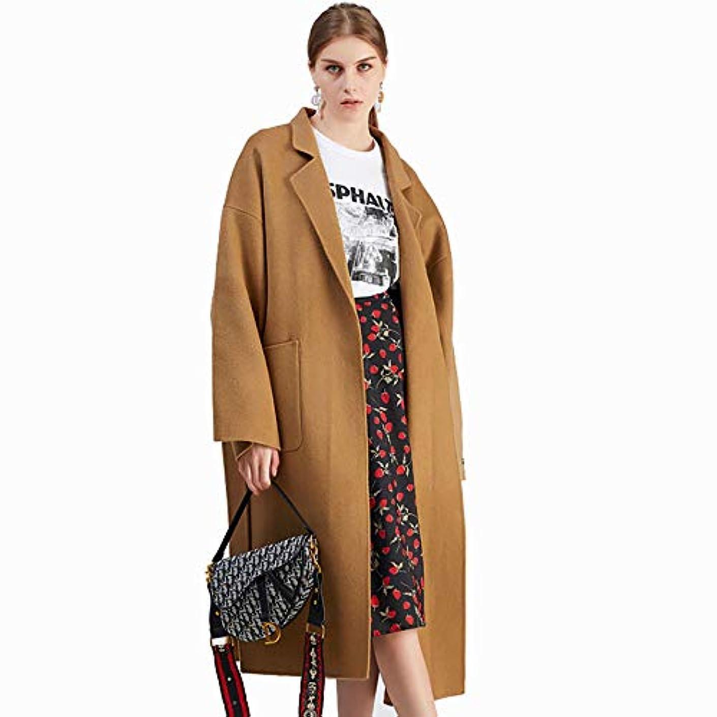 暗殺する侵入最大限ロングコート、秋と冬のカシミヤのコート、ロング両面のウールコート手作り婦人服レディースコートレディースウインドブレーカージャケット